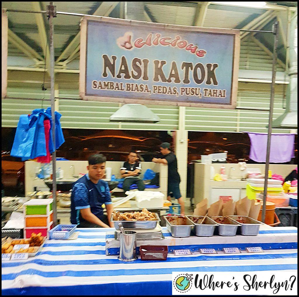 nasi katok stall at gadong night market brunei